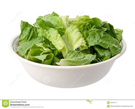 wooden salad romaine salad bowl isolated stock photo image 45701171
