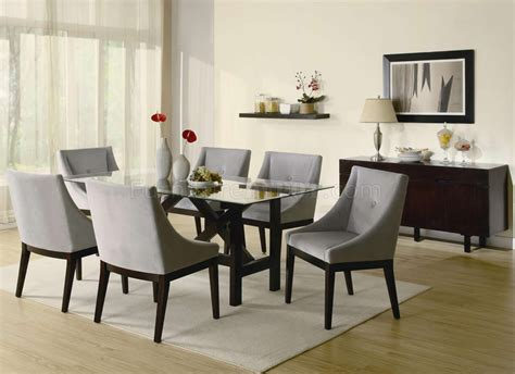 cappuccino finish glass top modern dining table woptional
