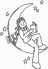 Read Coloring Children Moon Pages Cartoon Wecoloringpage sketch template