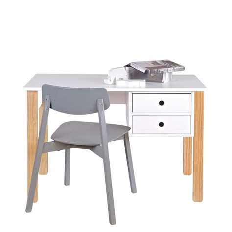 bureau enfant pin massif blanc tipi by drawer