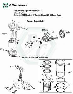 Industrial Engine Model 6081t Litre Engine 8 1l 496