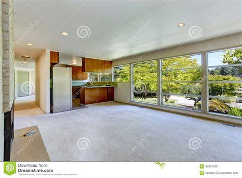 Carpet Interior : Empty House Interior With Open Floor Plan. Living Room