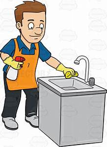 A Man Polishing The Kitchen Sink Vector Clip Art Cartoon