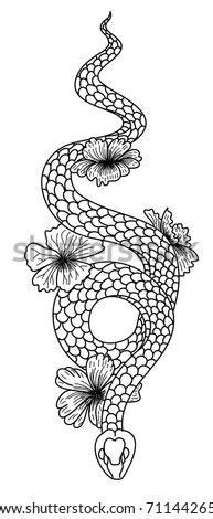 Snake Tattoo Cobra Stock Vector 207145693 - Shutterstock