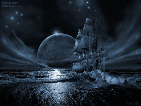 Celtic Guardian Deck by Modern Art Gallery Ghost Ship Series Full Moon Rising 3d
