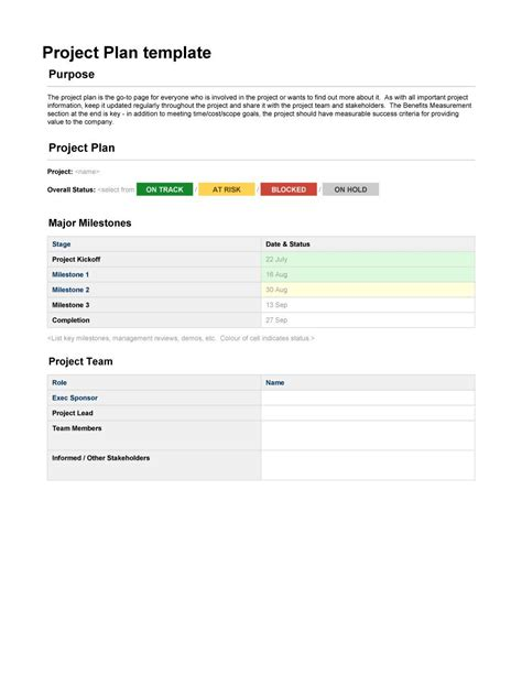 professional project plan templates excel word