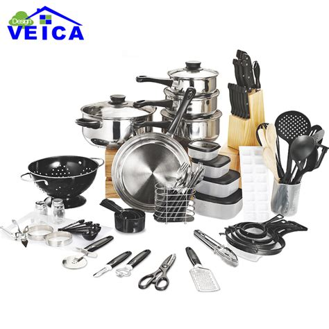 best pots and pans set top fashion real cookware cooking pots and pans set 80 piece kitchen starter combo utensil in
