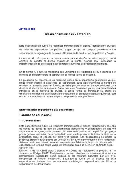 Norma API 12J | Petróleo | Presión