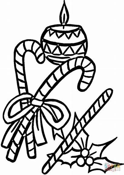 Coloring Candle Christmas Pages Candy Cane Holly