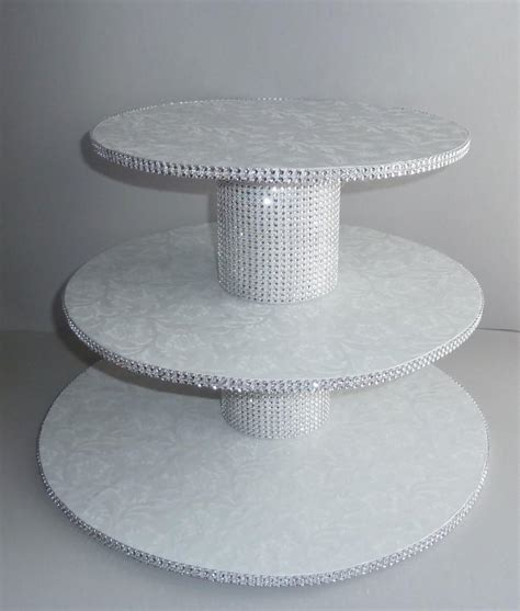 3 tier bling white wedding cake cupcake stand tower
