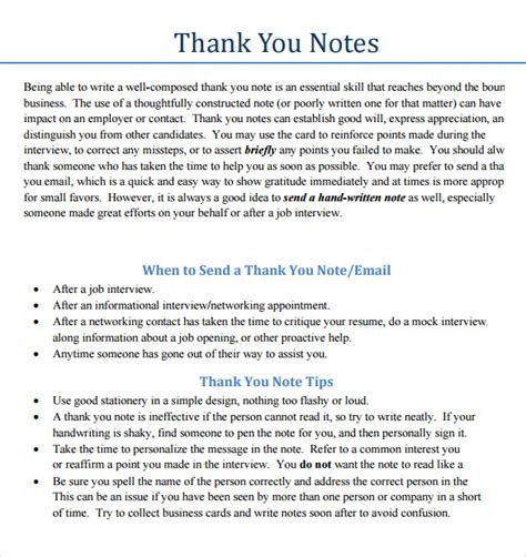 Thank You Note Sle Wording by Business Thank You Notes 7 Documents In Pdf