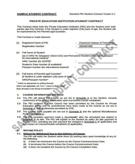 Student Contract Template by 11 Student Contract Sles Templates Sle Templates