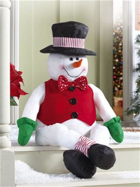stuffable stanley snowman holiday porch greeter