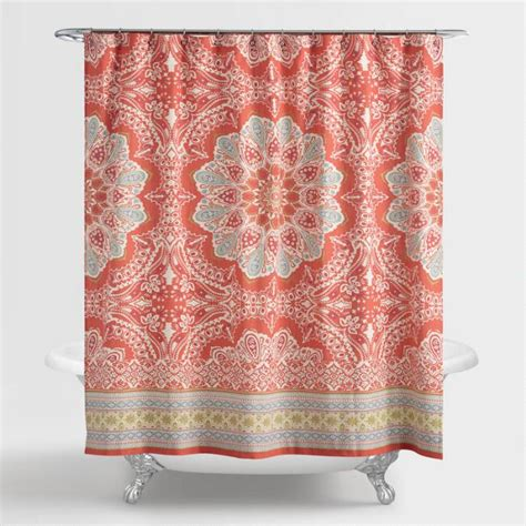 coral colored shower curtain coral medallion lucia shower curtain world market