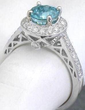 blue zircon wedding ring   white gold gr