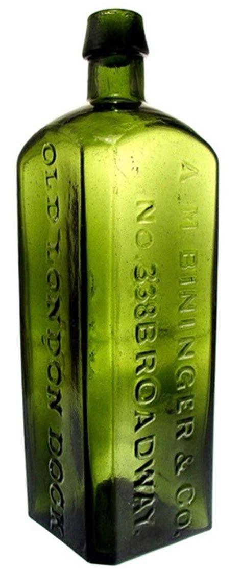 gin green bottle gin bottle am bininger co no 338 broadway old london dock gin green