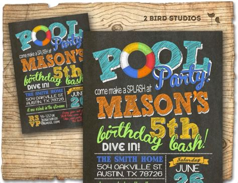 pool party invitations psd vector eps