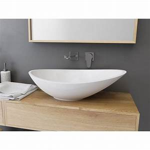 Vasque a poser resine de synthese l564 x p323 cm blanc for Salle de bain design avec vasque en verre castorama