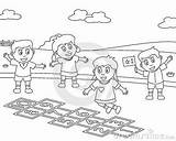 Coloring Sport Colouring Playing Park Hopscotch Useful Educational Four Version Books sketch template