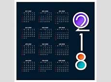 Calendrier pour 2018 Télécharger des Vecteurs gratuitement