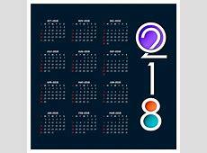 Calendar for 2018 Vector Free Download