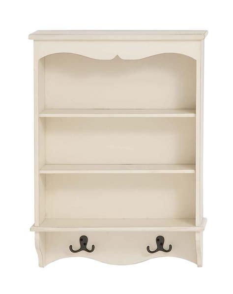 White Wall Shelf Unit by White Wood Curio Wall Shelf Unit 3 Shelves 2 Hooks