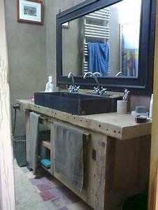Idée Meuble Salle De Bain : id e d coration salle de bain un tabli transform en ~ Dailycaller-alerts.com Idées de Décoration