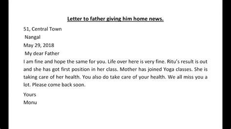 letter  father giving  home newsletter writing