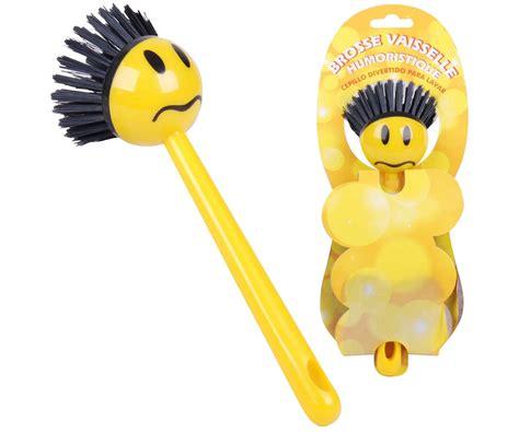 horloge cuisine pas cher brosse vaisselle smiley rigolo design humoristique jaune