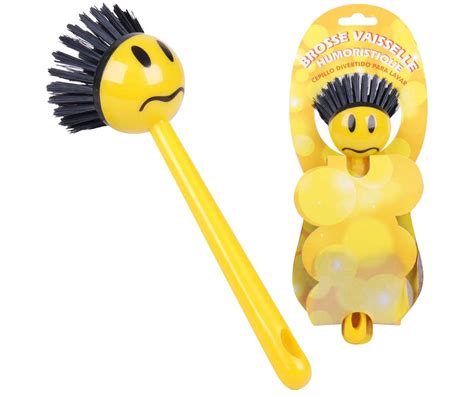 objet de bureau rigolo brosse vaisselle smiley rigolo design humoristique jaune