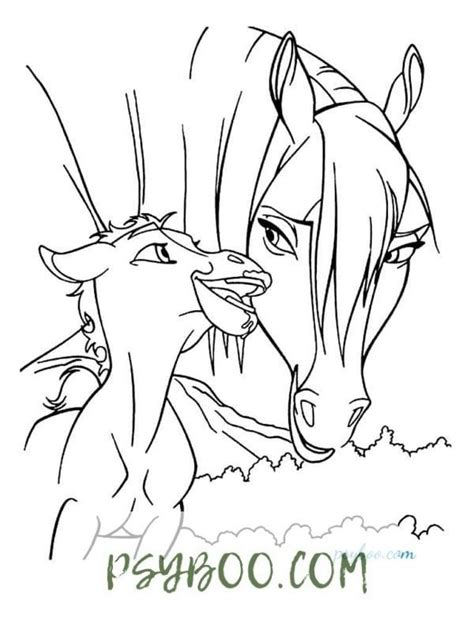 mustang mom baby horse coloring page wild horse  coloring