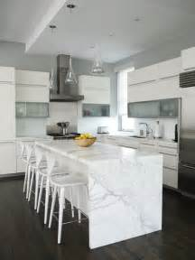 white kitchen with island the granite gurus whiteout wednesday 5 white kitchens with quot waterfall quot islands