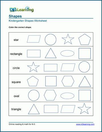 Identifying 2dimensional Shapes Worksheets  K5 Learning