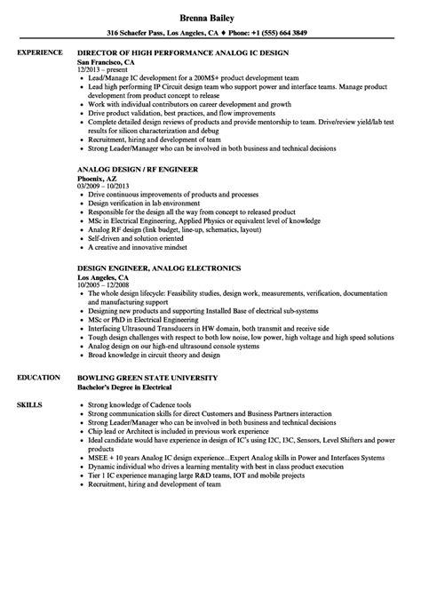 analog design resume sles velvet