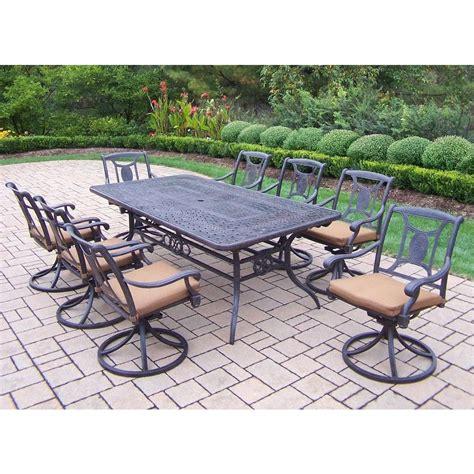 Cast Aluminum Patio Furniture With Sunbrella Cushions by Oakland Living Extendable Cast Aluminum 9