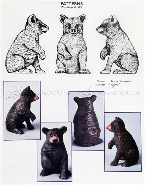 bear carving wood carving patterns woodarchivist