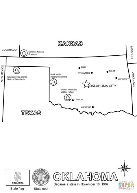 map  oklahoma coloring page  printable coloring pages