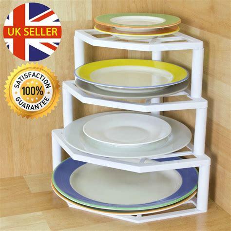 corner plate organiser rack white strong plastic storage solution ebay