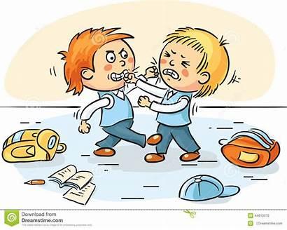 Fighting Clipart Quarreling Schoolboys Cartoons Children Vector