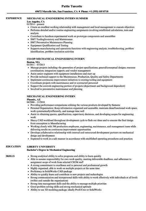 mechanical engineering intern resume sles velvet