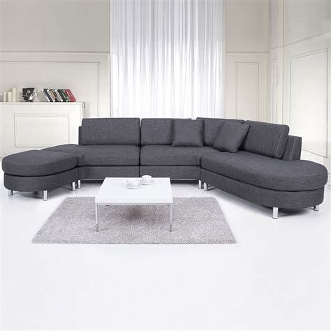 Grey Corner Settee by Upholstered Sofa 5 Seater Corner Sectional Settee