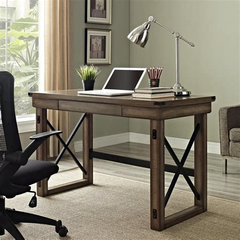 lowes office desks shop ameriwood home wildwood transitional rustic gray
