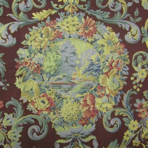 Aubusson Upholstery Fabric by Distinctive Aubusson World Scenic Reproduction