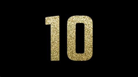 10 Second New Year's Eve Countdown With Golden Glitter Numbers And Explosion Happy New Year