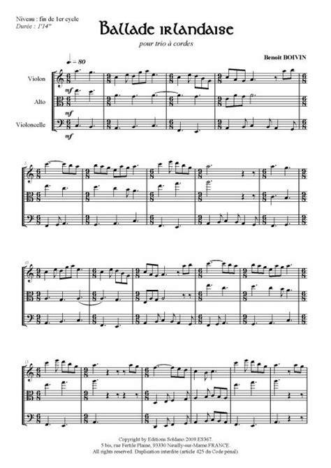 Ballade irlandaise (trio à cordes) Editions Soldano