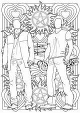 Supernatural Sam Winchester Dean Coloring Colouring Grown Ups Drawings Sheets Adult Colour Pdf Mandala Drawing sketch template