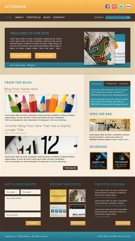 design a warm cheerful website interface in adobe photoshop