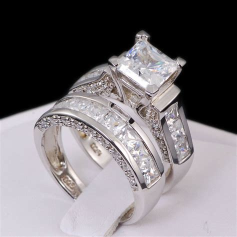 white gold  sterling princess diamond cut
