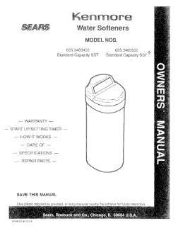 Water Softener Kenmore Water Softener 800 Manual