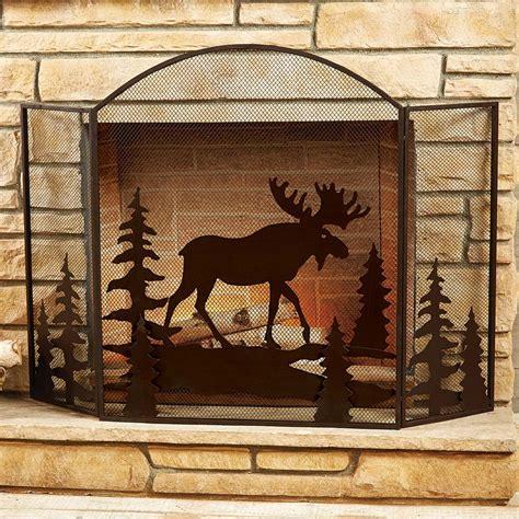 rustic fireplace screens moose fireplace screenblack